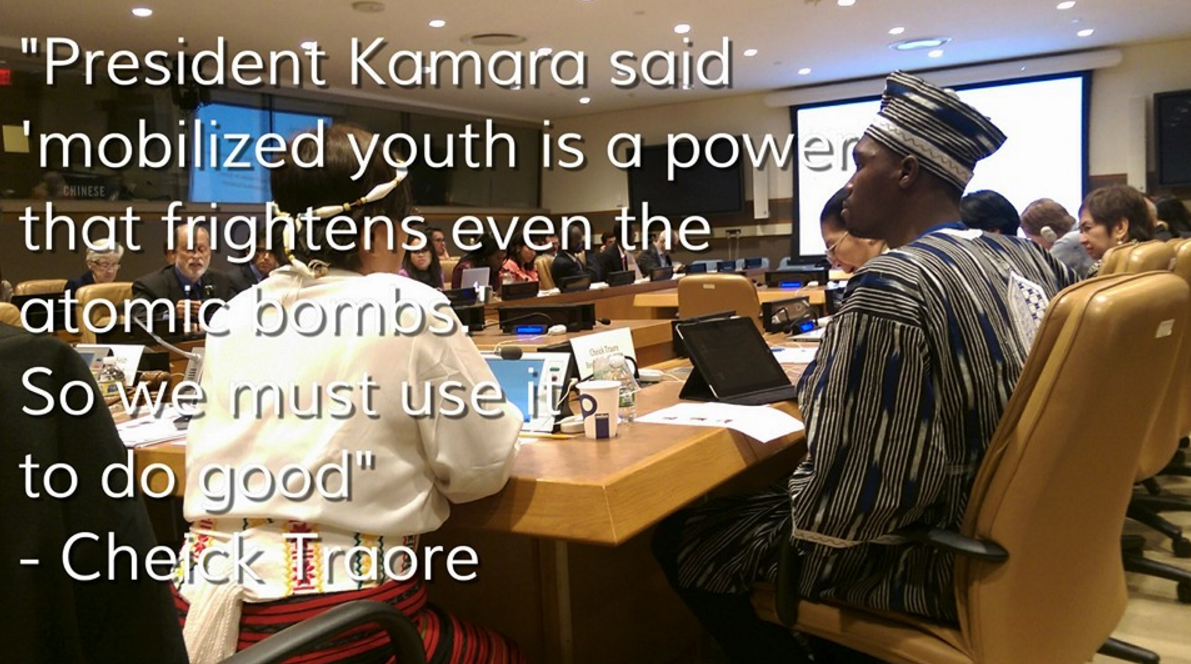 Youth Representative of Burkina Faso and Restless Development, Cheick Faycal Traore, meetings at the United Nations with The Hunger Project, the Government of the Philippines and MCC to discuss youth in community-led development.